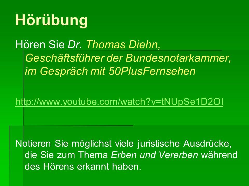 Hörübung Hören Sie Dr. Thomas Diehn, Geschäftsführer der Bundesnotarkammer, im Gespräch mit 50PlusFernsehen.