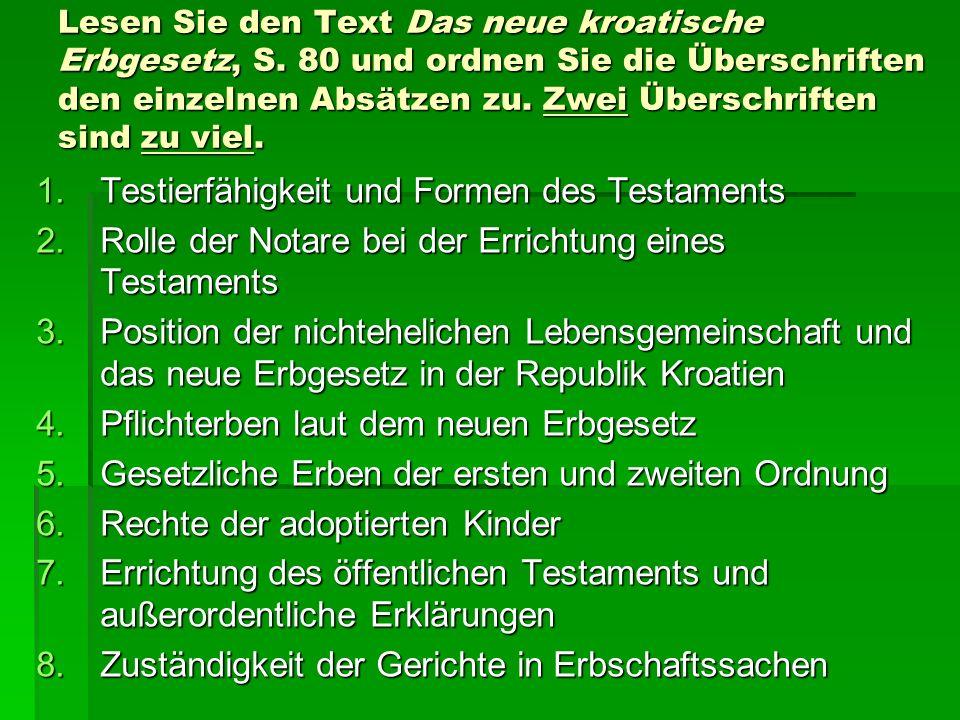 Testierfähigkeit und Formen des Testaments