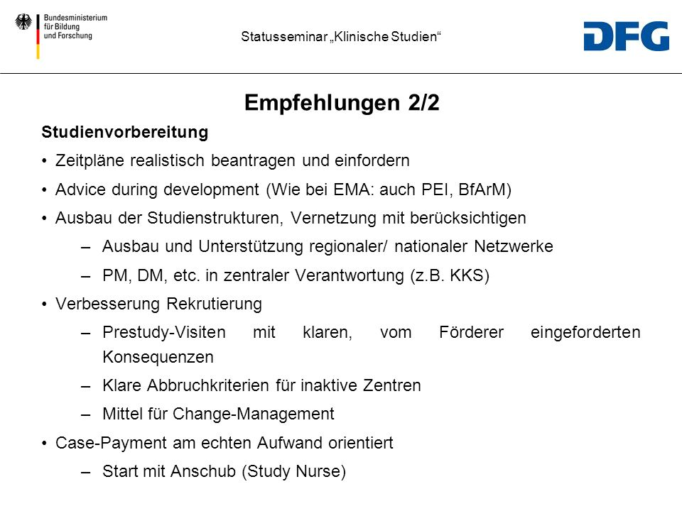Empfehlungen 2/2 Studienvorbereitung