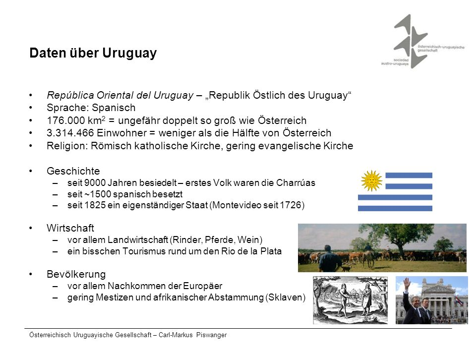 "Daten über Uruguay República Oriental del Uruguay – ""Republik Östlich des Uruguay Sprache: Spanisch."