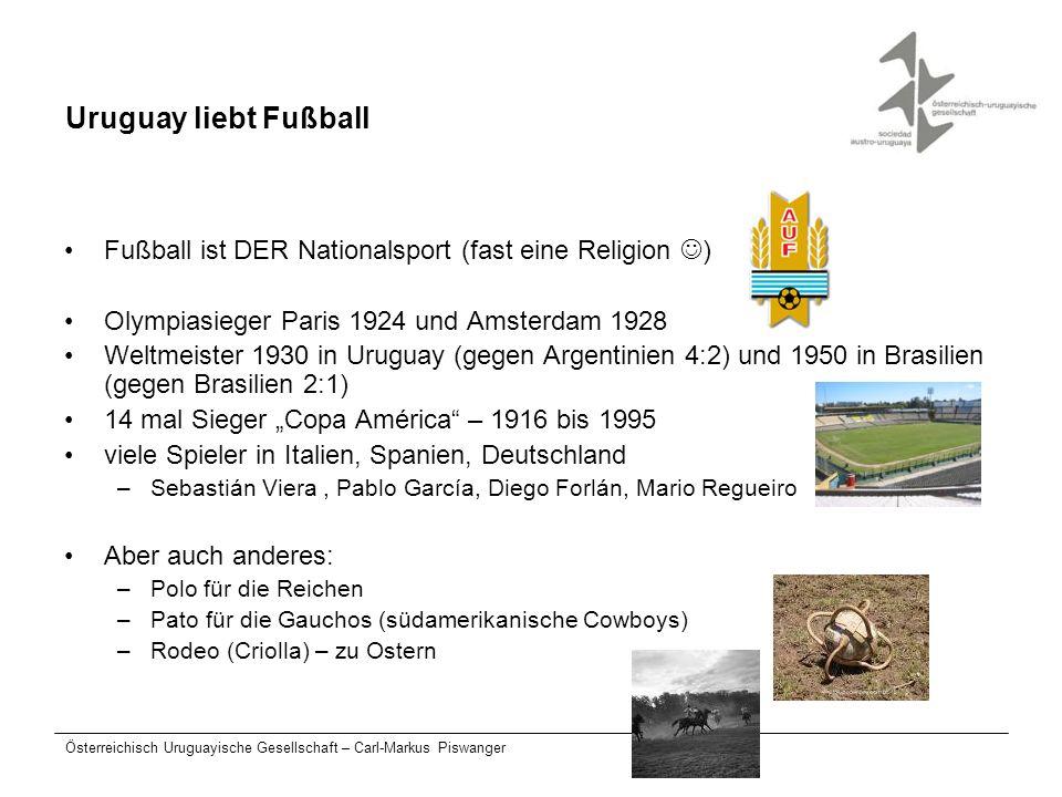 Uruguay liebt Fußball Fußball ist DER Nationalsport (fast eine Religion ) Olympiasieger Paris 1924 und Amsterdam 1928.
