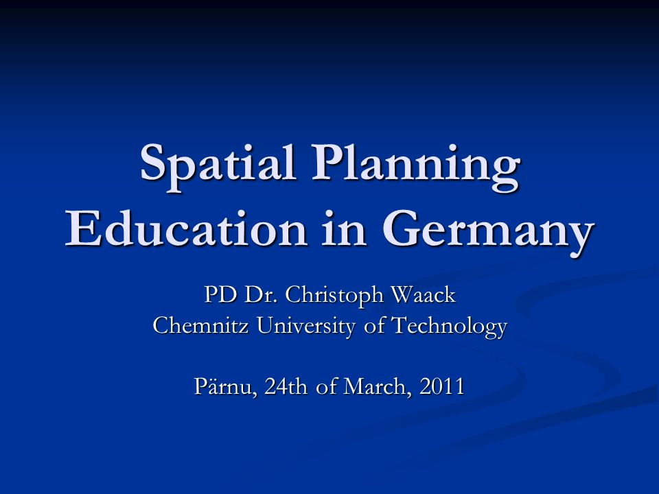 Spatial Planning Education in Germany