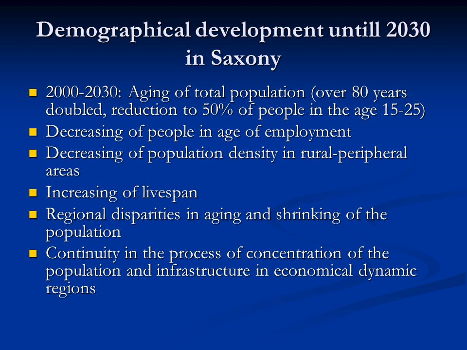Demographical development untill 2030 in Saxony