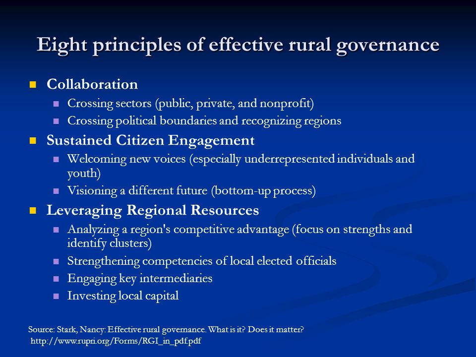 Eight principles of effective rural governance