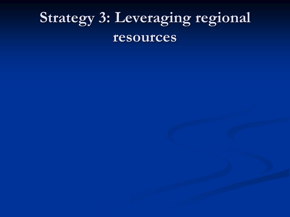 Strategy 3: Leveraging regional resources