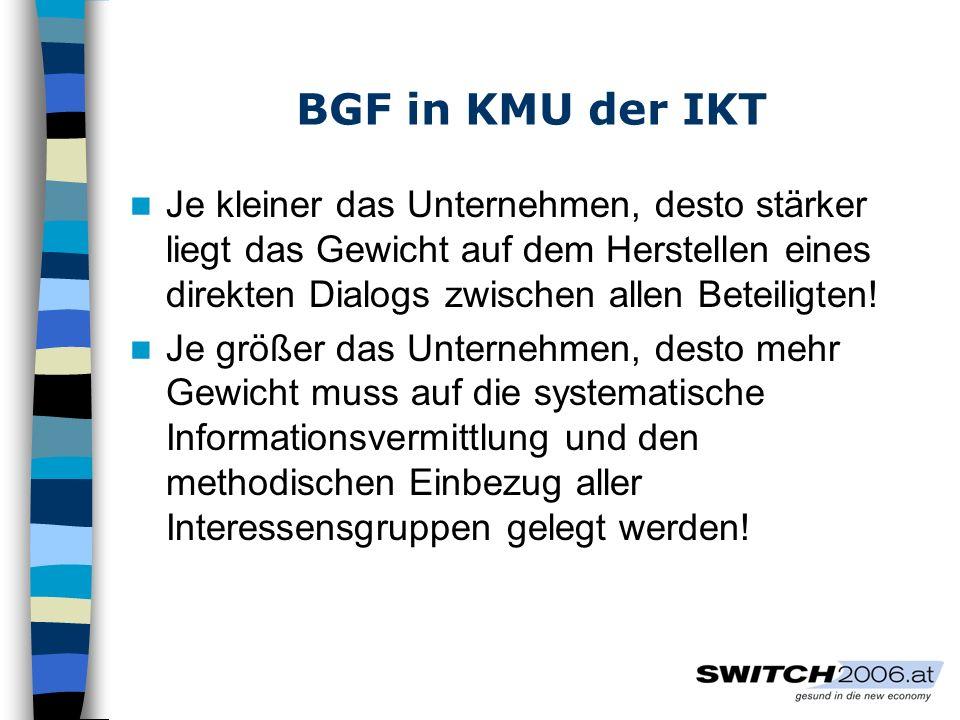 BGF in KMU der IKT Je kleiner das Unternehmen, desto stärker liegt das Gewicht auf dem Herstellen eines direkten Dialogs zwischen allen Beteiligten!