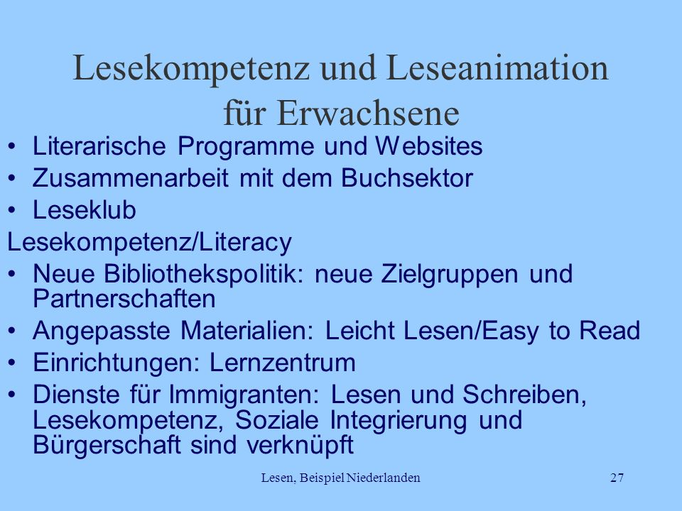 Lesekompetenz und Leseanimation für Erwachsene