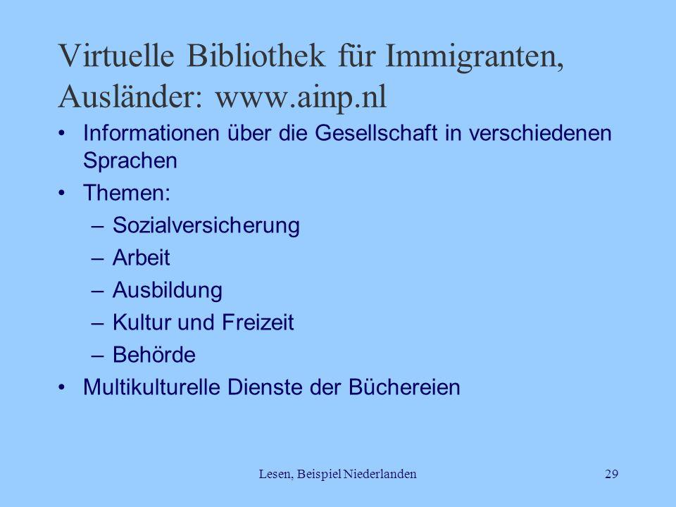 Virtuelle Bibliothek für Immigranten, Ausländer: www.ainp.nl