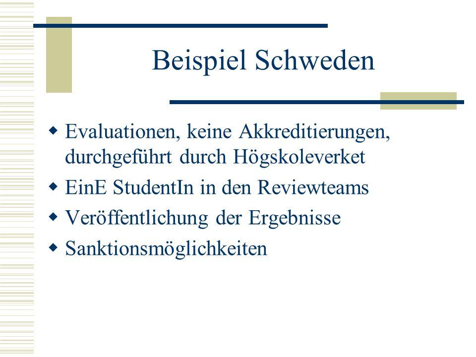 Beispiel Schweden Evaluationen, keine Akkreditierungen, durchgeführt durch Högskoleverket. EinE StudentIn in den Reviewteams.