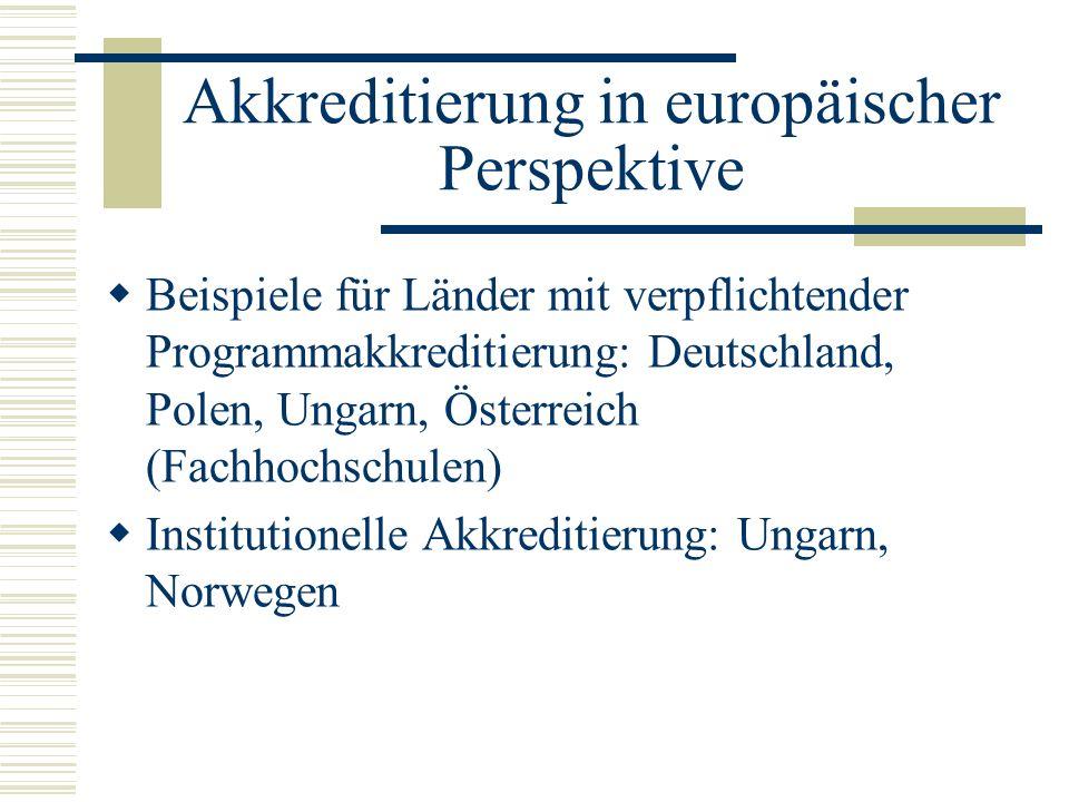 Akkreditierung in europäischer Perspektive
