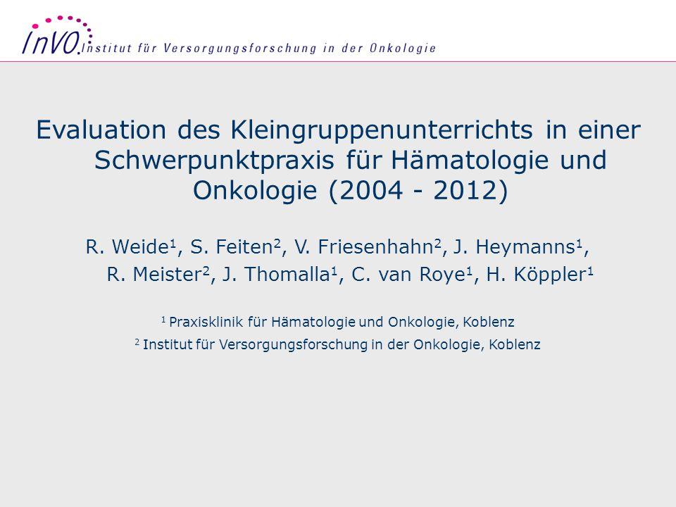 Evaluation des Kleingruppenunterrichts in einer Schwerpunktpraxis für Hämatologie und Onkologie (2004 - 2012)