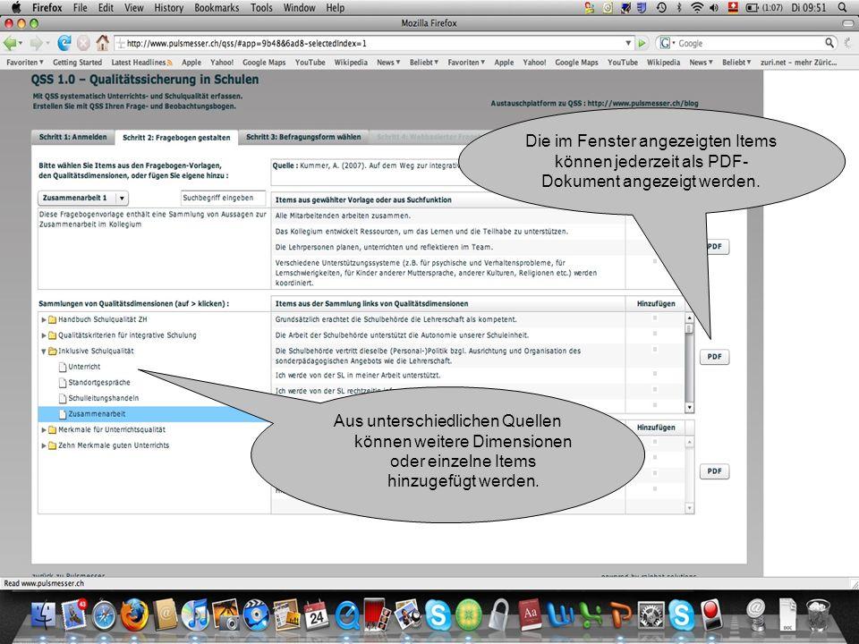 Die im Fenster angezeigten Items können jederzeit als PDF- Dokument angezeigt werden.