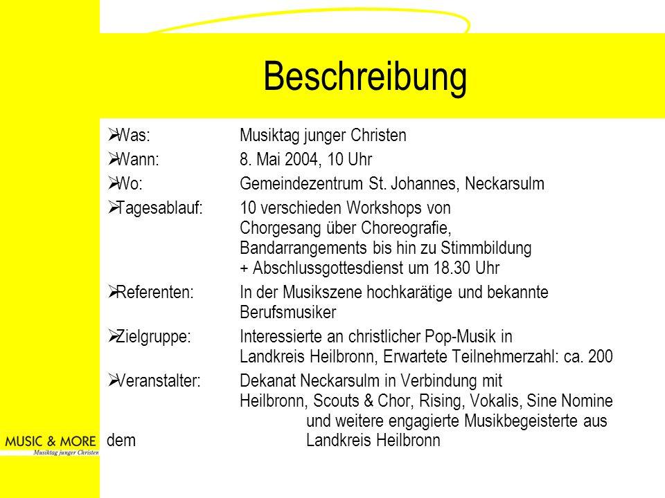 Beschreibung Was: Musiktag junger Christen Wann: 8. Mai 2004, 10 Uhr