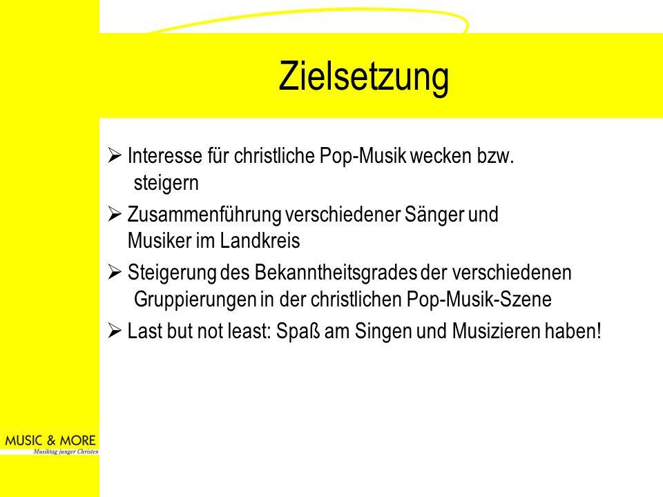 Zielsetzung Interesse für christliche Pop-Musik wecken bzw. steigern