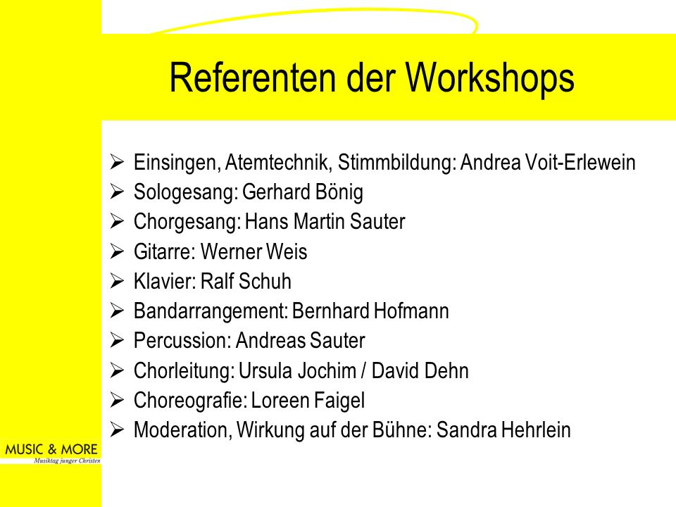 Referenten der Workshops