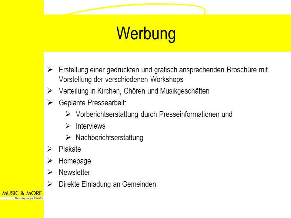 Werbung Erstellung einer gedruckten und grafisch ansprechenden Broschüre mit Vorstellung der verschiedenen Workshops.