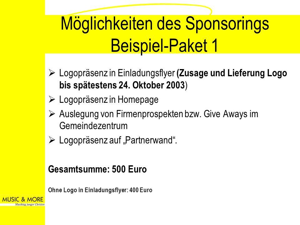 Möglichkeiten des Sponsorings Beispiel-Paket 1