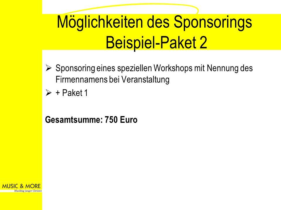Möglichkeiten des Sponsorings Beispiel-Paket 2