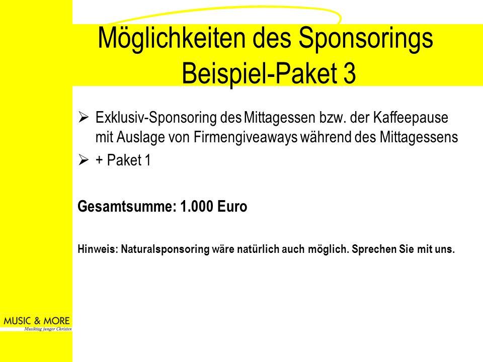 Möglichkeiten des Sponsorings Beispiel-Paket 3