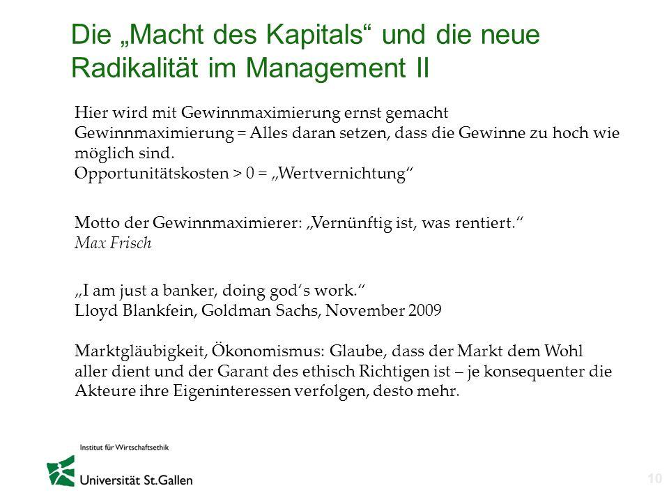 """Die """"Macht des Kapitals und die neue Radikalität im Management II"""