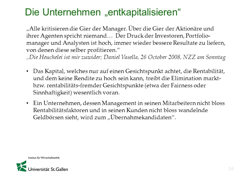 """Die Unternehmen """"entkapitalisieren"""