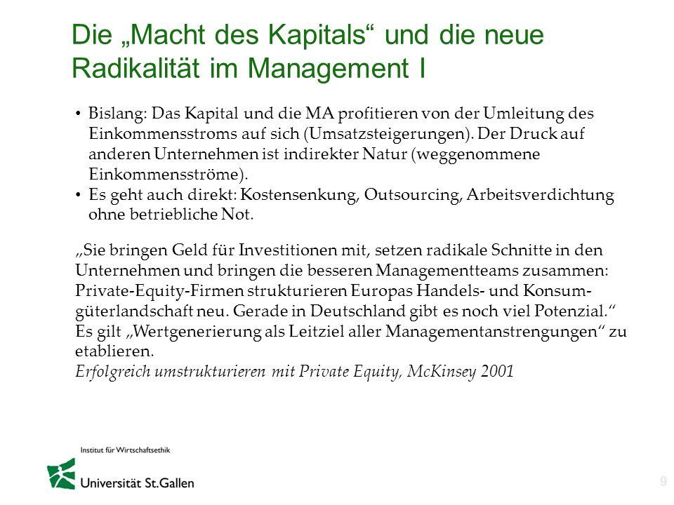 """Die """"Macht des Kapitals und die neue Radikalität im Management I"""