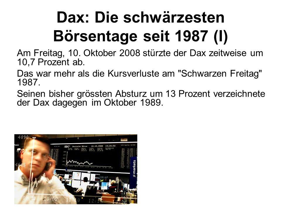 Dax: Die schwärzesten Börsentage seit 1987 (I)