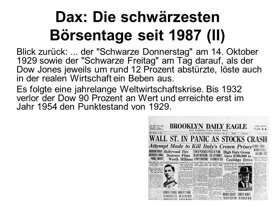 Dax: Die schwärzesten Börsentage seit 1987 (II)