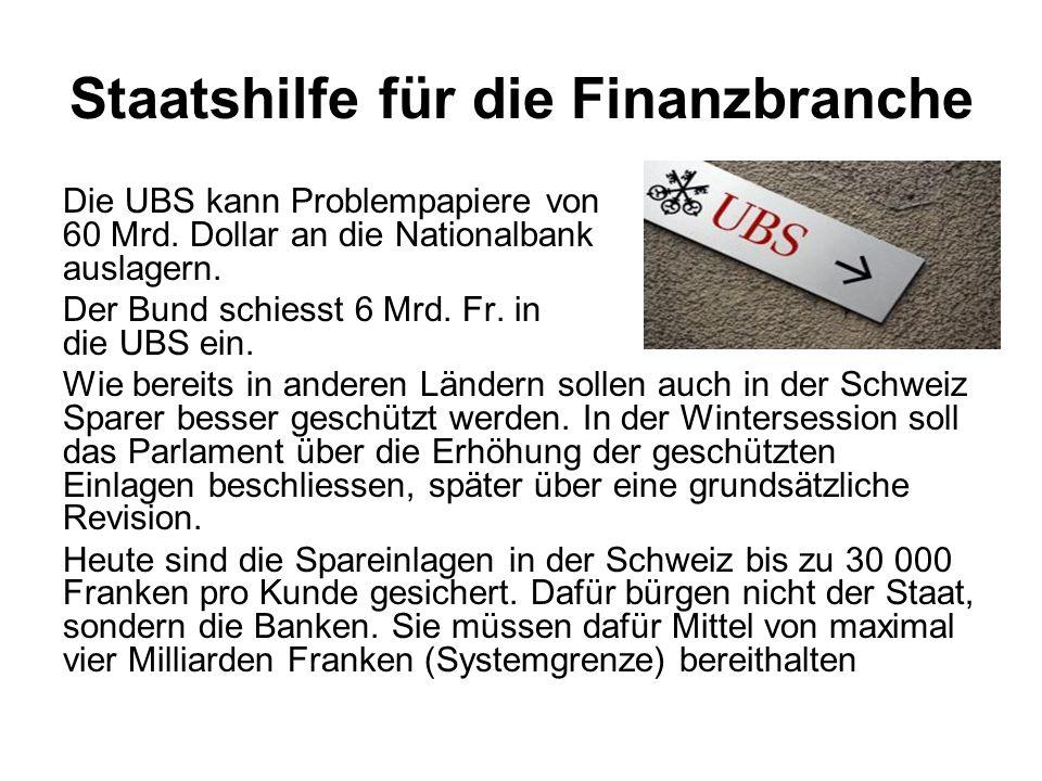 Staatshilfe für die Finanzbranche