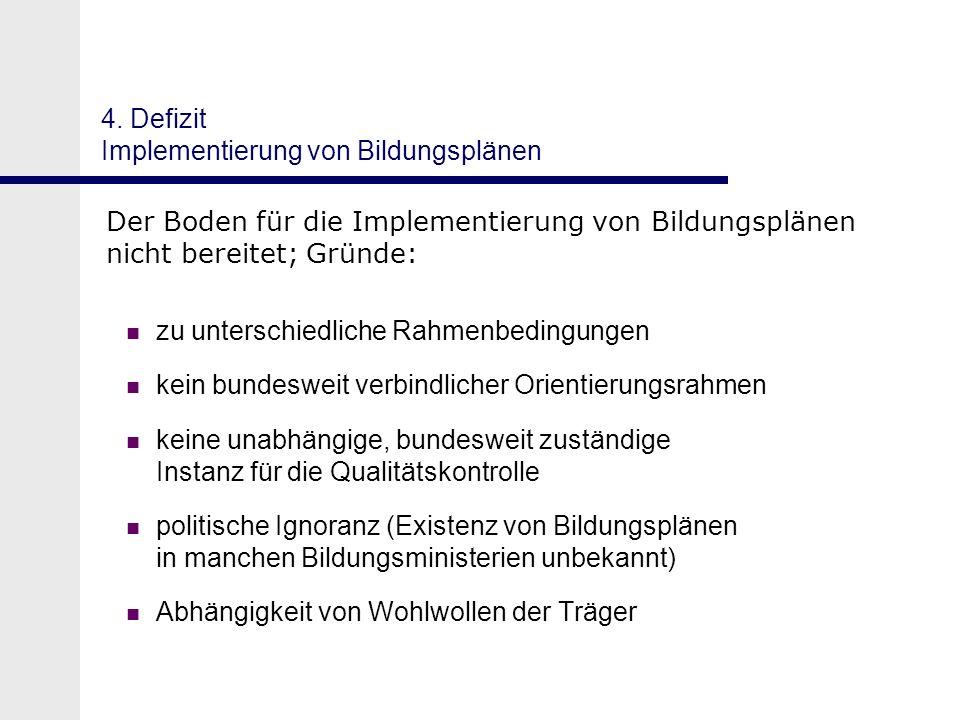 4. Defizit Implementierung von Bildungsplänen