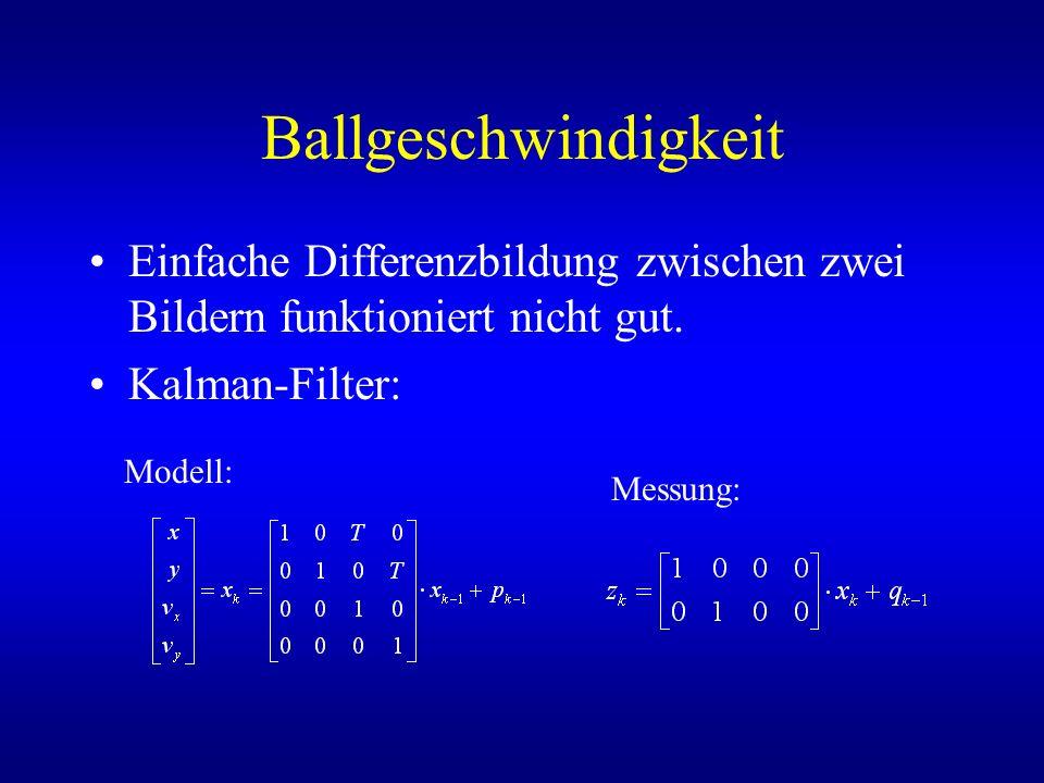 Ballgeschwindigkeit Einfache Differenzbildung zwischen zwei Bildern funktioniert nicht gut. Kalman-Filter: