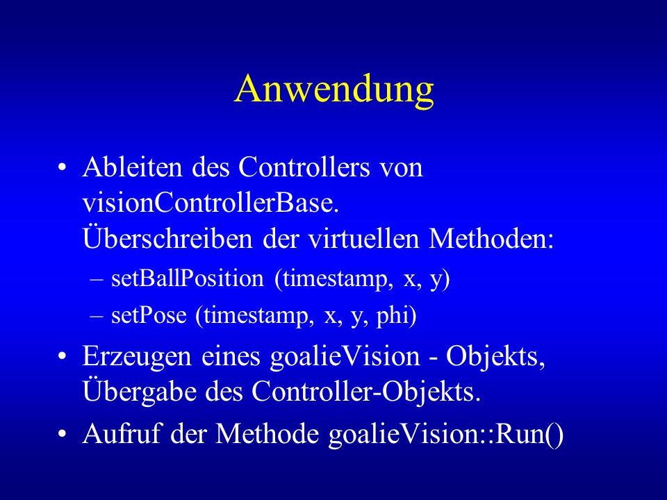 Anwendung Ableiten des Controllers von visionControllerBase. Überschreiben der virtuellen Methoden: