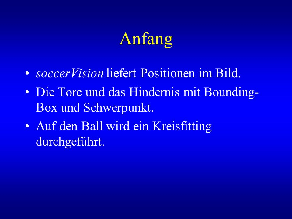 Anfang soccerVision liefert Positionen im Bild.
