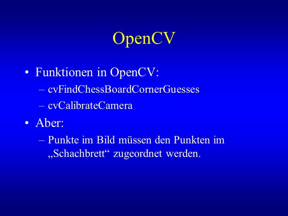 OpenCV Funktionen in OpenCV: Aber: cvFindChessBoardCornerGuesses