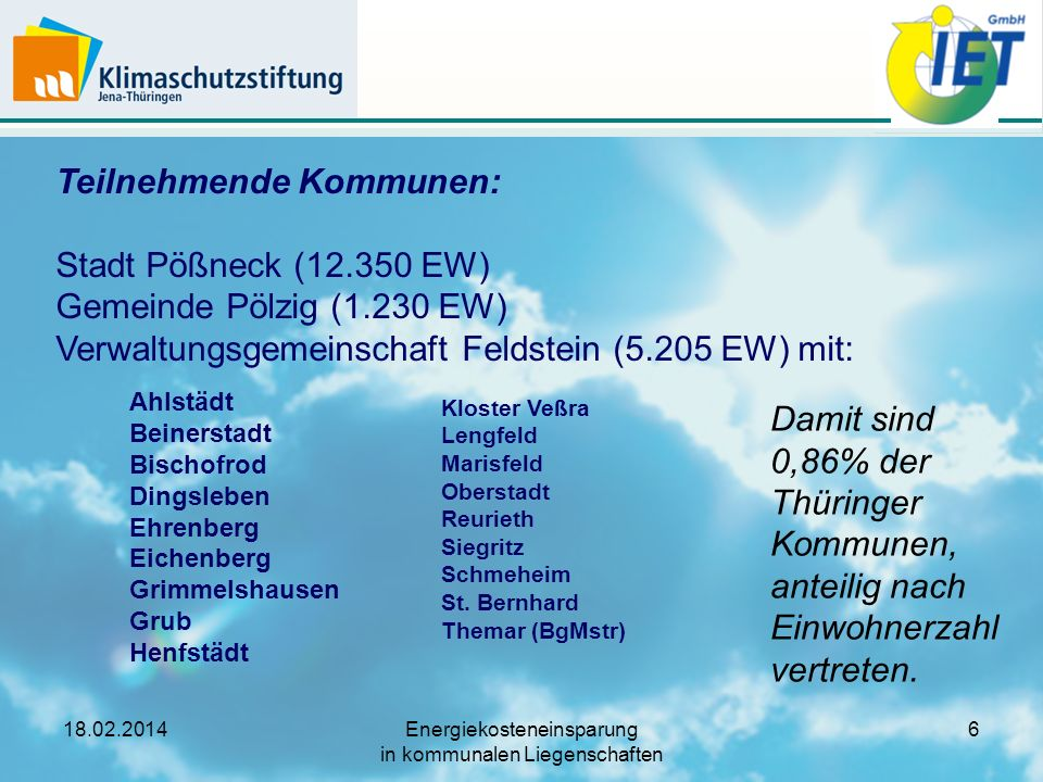 Teilnehmende Kommunen: Stadt Pößneck (12. 350 EW) Gemeinde Pölzig (1