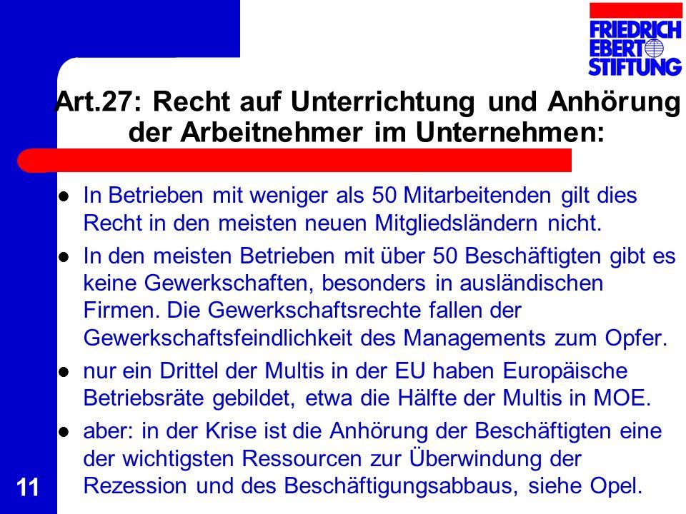 Art.27: Recht auf Unterrichtung und Anhörung der Arbeitnehmer im Unternehmen: