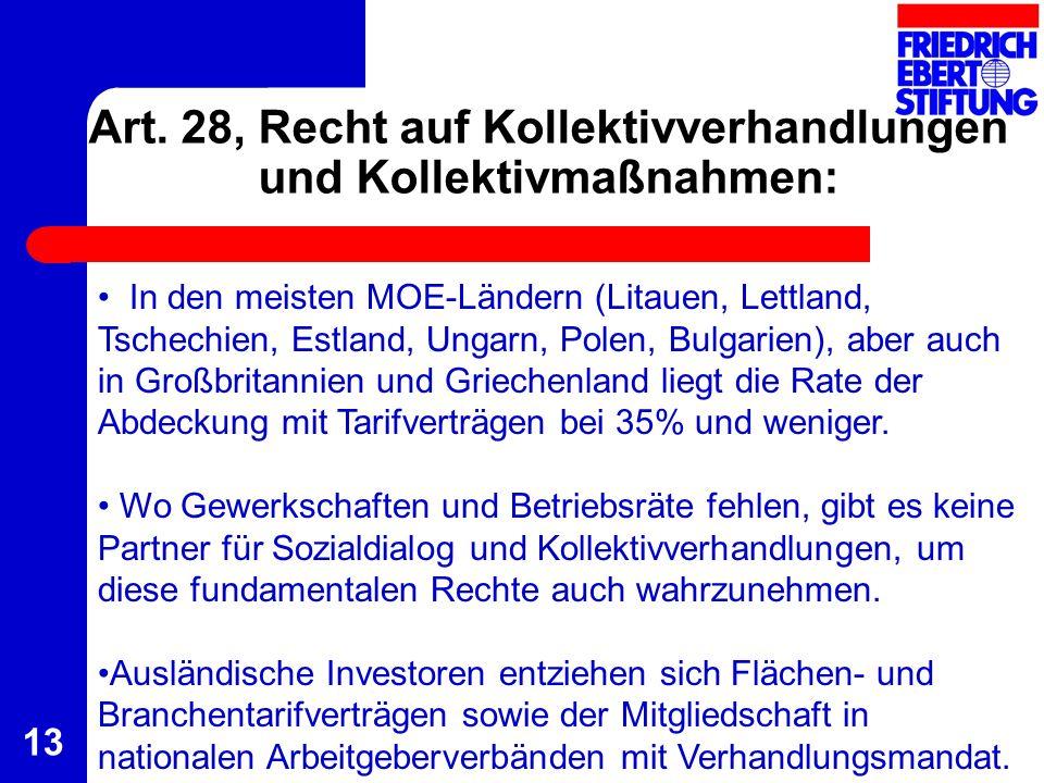 Art. 28, Recht auf Kollektivverhandlungen und Kollektivmaßnahmen: