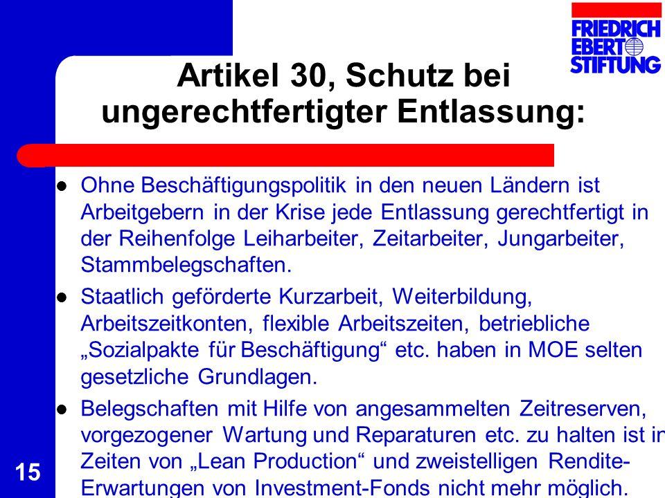 Artikel 30, Schutz bei ungerechtfertigter Entlassung: