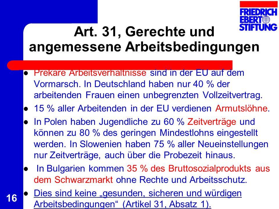 Art. 31, Gerechte und angemessene Arbeitsbedingungen