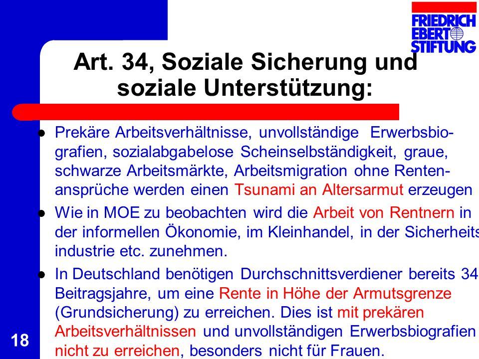 Art. 34, Soziale Sicherung und soziale Unterstützung: