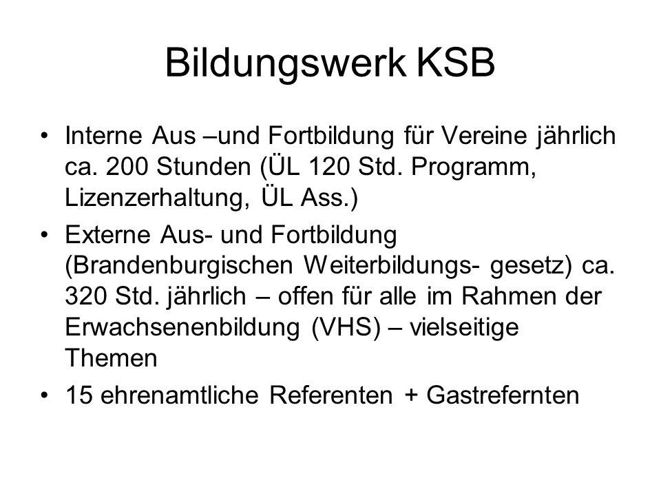 Bildungswerk KSB Interne Aus –und Fortbildung für Vereine jährlich ca. 200 Stunden (ÜL 120 Std. Programm, Lizenzerhaltung, ÜL Ass.)