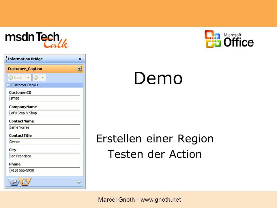 Erstellen einer Region Testen der Action