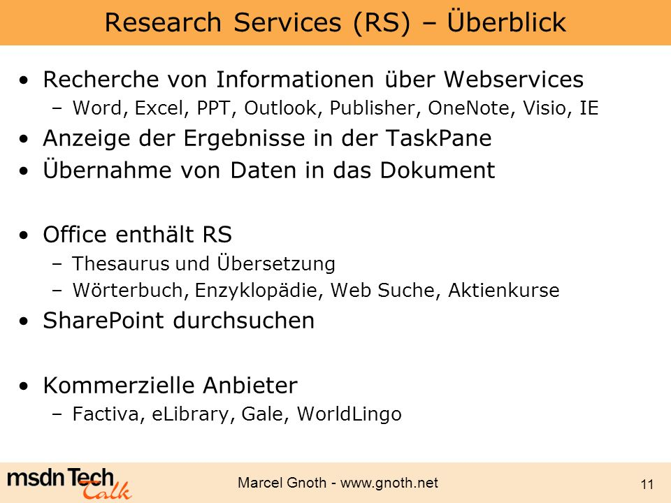 Research Services (RS) – Überblick