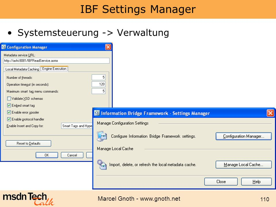 IBF Settings Manager Systemsteuerung -> Verwaltung