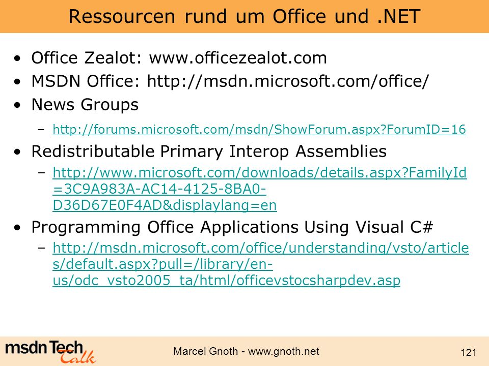 Ressourcen rund um Office und .NET