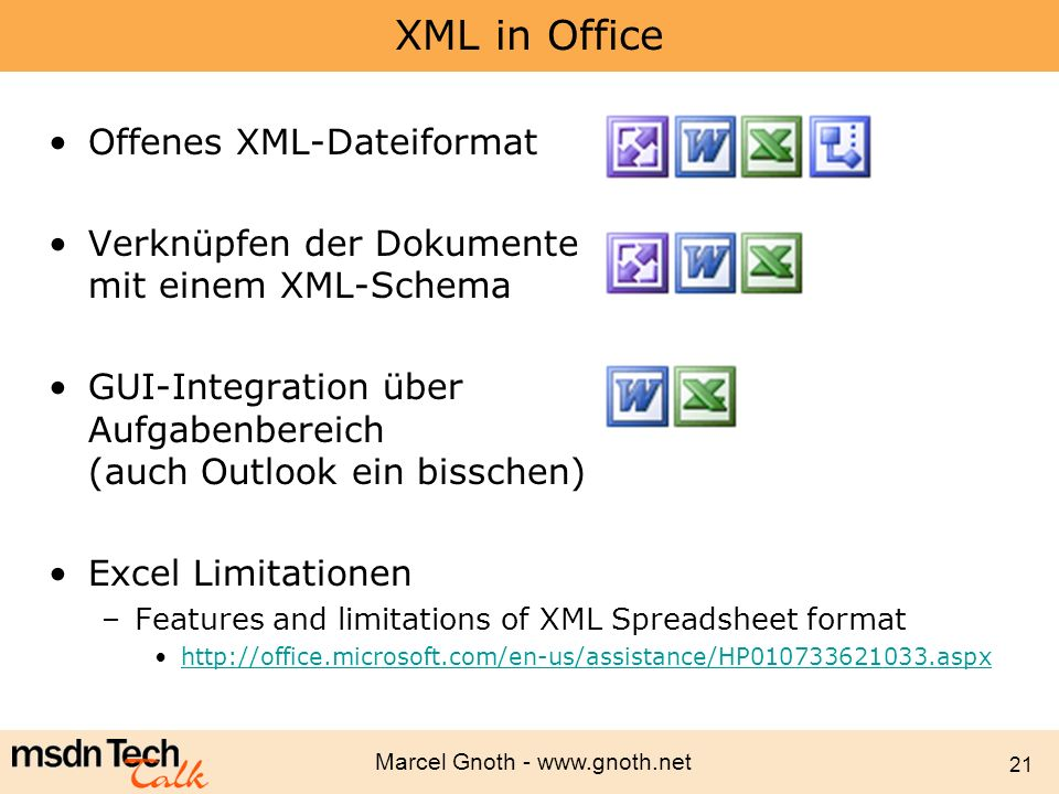 XML in Office Offenes XML-Dateiformat