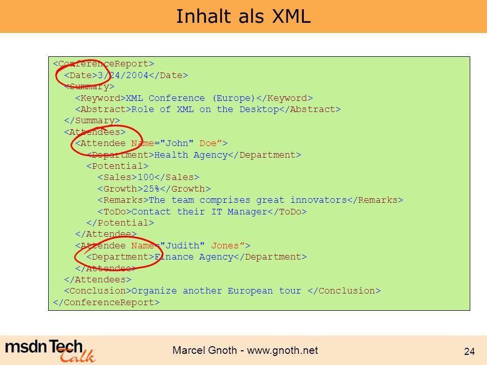 Inhalt als XML <ConferenceReport>