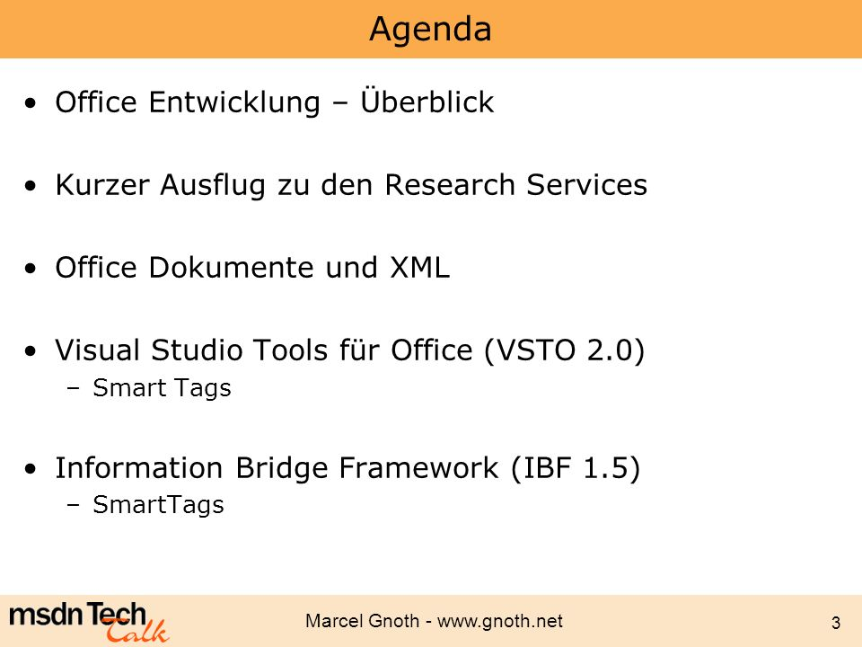 Agenda Office Entwicklung – Überblick