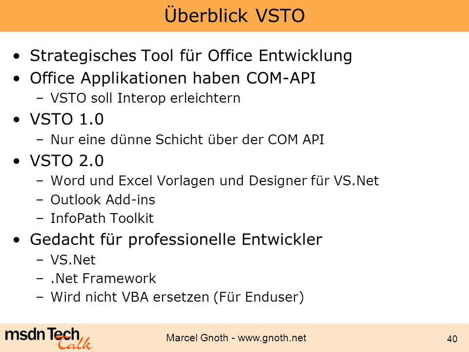 Überblick VSTO Strategisches Tool für Office Entwicklung