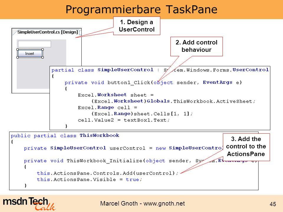 Programmierbare TaskPane
